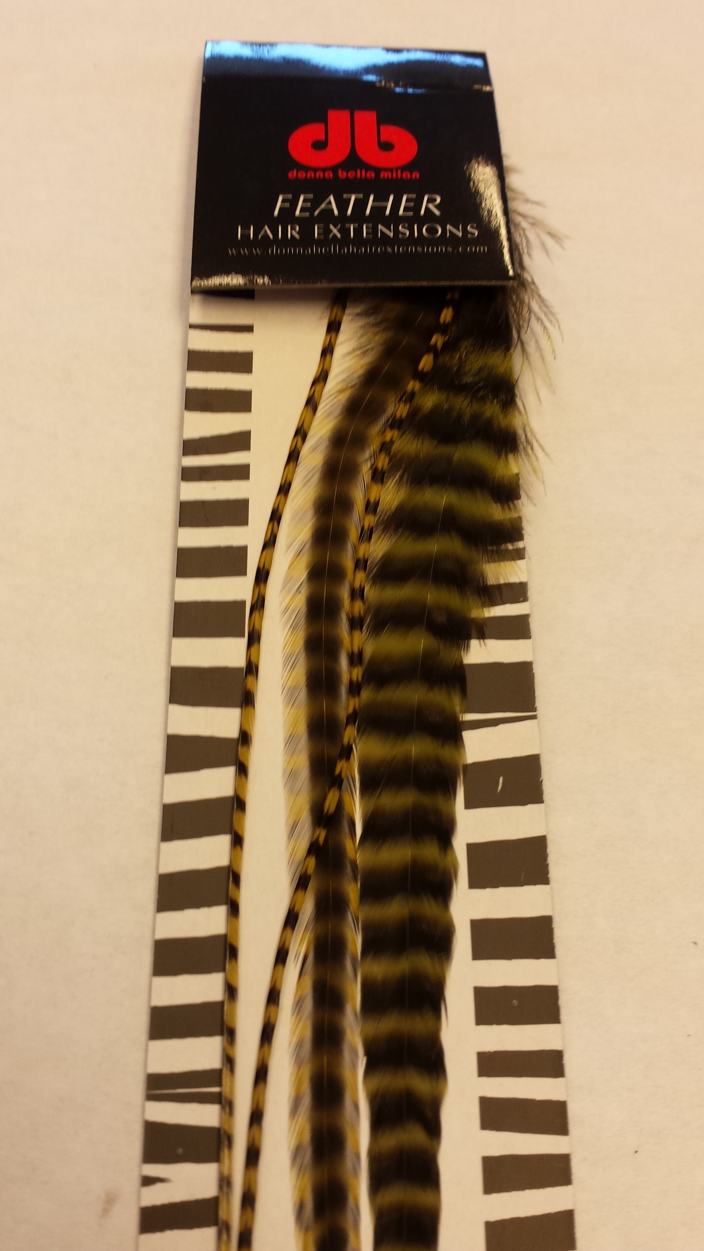 Long Striped Olive Feather Extensions