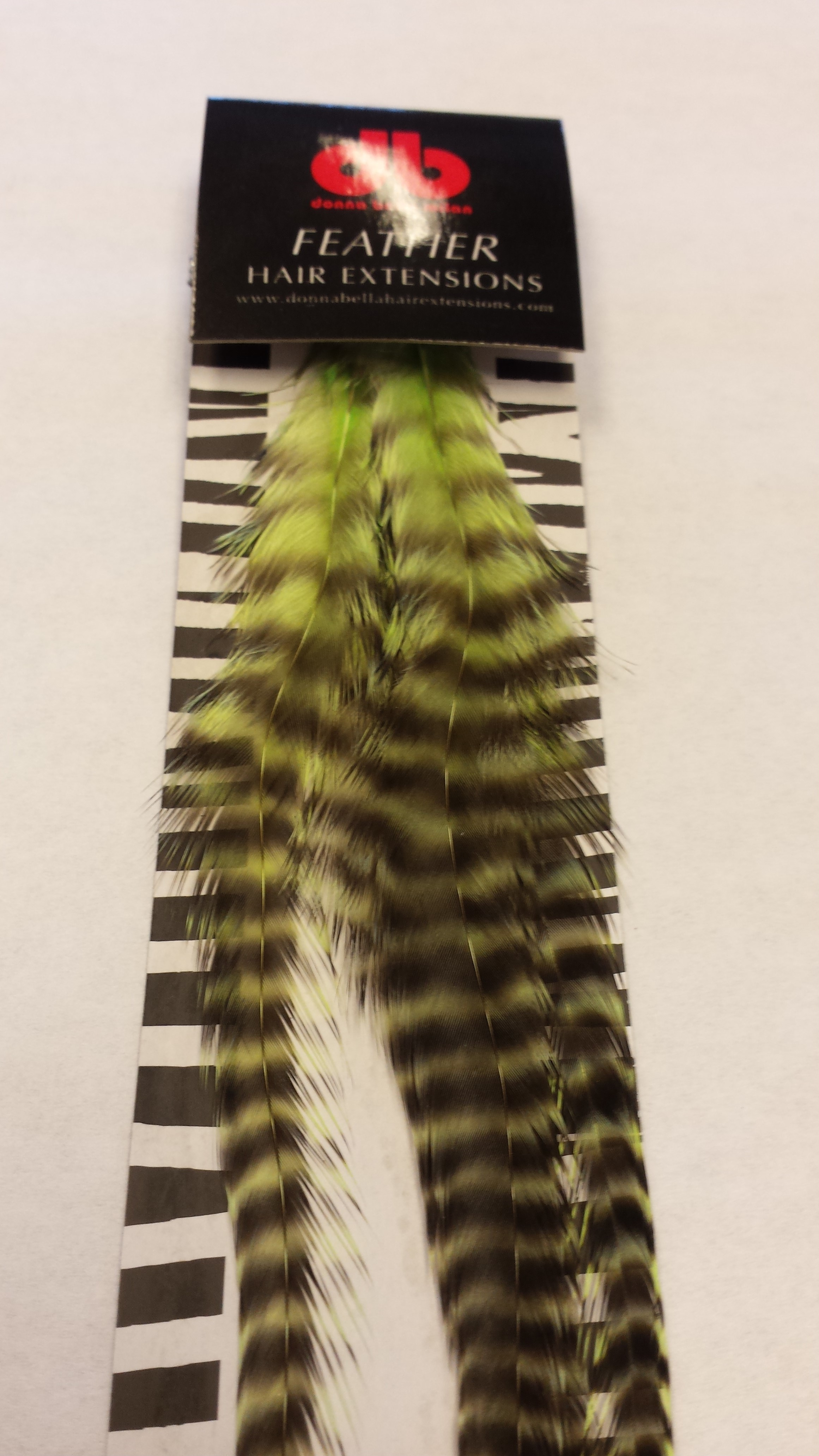Long Striped Chartreuse Feather Extensions