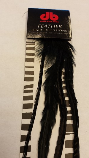 Long Solid Black Feather Extensions